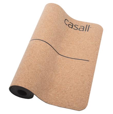 Yoga mat Casall natural cork 5mm - Natural cork/black