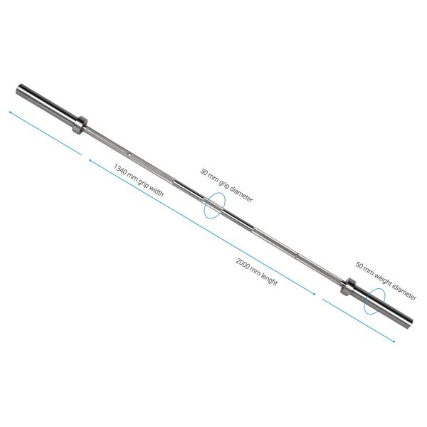 Internationell kompakt skivstång 17,5 kg, 200 cm, 30 mm grepp